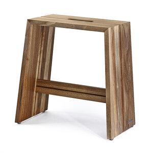 Design Holz-Hocker aus massivem Nussbaumholz, natur geölt, mit Griff - NATUREHOME
