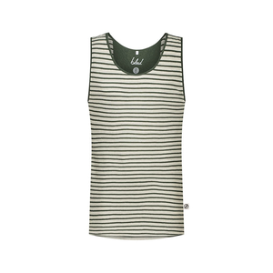 Striped Tanktop Leinen Dunkelgrün - bleed