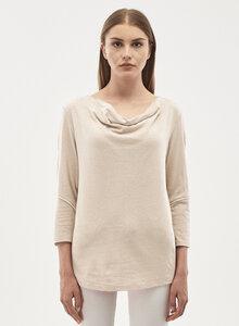 3/4 Arm Shirt aus Leinen Bio-Baumwolle Mix mit Wasserfallkragen - ORGANICATION