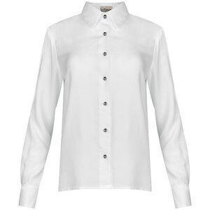 Hemdbluse weiß langarm mit Designer-Knöpfen - SinWeaver alternative fashion