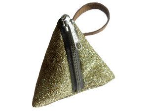 Schlüsselanhänger Tasche Gold Glitzer, Upcycling von Leesha Design - Leesha