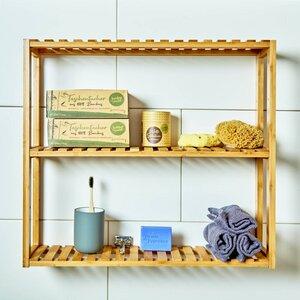 Wandschrank / Badregal aus 100% Bambus mit 3 Etagen 60x54x15cm - Bambuswald
