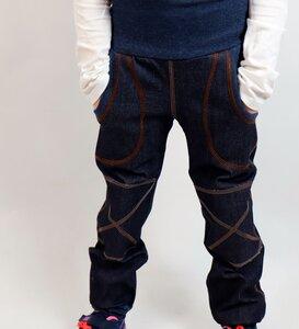 Kinder-/Baby-Mitwachs-Jeans blau mit Taschen und Knieflicken - Omilich