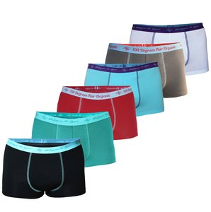 6er Mix Pack Herren Retro Pants GOTS petrol / black / grey / aqua / white / chili - 108 Degrees