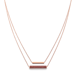 Halskette mit Holzelement 'RECTANGLE NECKLACE' - Kerbholz
