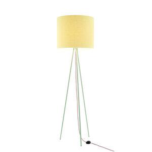 Stehleuchte Tripod Linum PASTELL-GRÜN aus Stahl und Leinen - verschiedene Schirme - lumbono