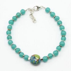 """Armband """"Frätzchen"""", indische Glasperlen mit 1 Kazuri-Keramikperle - steinfarben"""