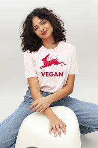VEGAN Print Damen T-Shirt aus Bio-Baumwolle I Veganer T-Shirt I Woman of Vegan weiß/rosa - Woman of Vegan
