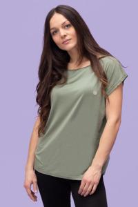 Damen Shirt kurzarm stillfashion aus TENCEL mit eingesticker Lotusblüte - stillfashion