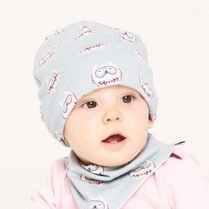 """Gefütterte Baby-Haube aus Bio-Baumwolle """"Eulennest"""" Hellblau/Rosa - Cheeky Apple"""