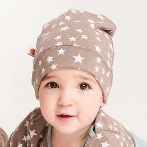"""Gefütterte Baby-Haube aus Bio-Baumwolle """"Stars Taupe"""" Braun/Weiß - Cheeky Apple"""
