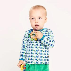 "Langarm Baby-Shirt aus Bio-Baumwolle ""Little Munkelus"" Hellblau - Cheeky Apple"