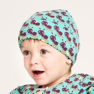 "Gefütterte Baby-Haube aus Bio-Baumwolle ""Ants"" Türkis/Grau - Cheeky Apple"