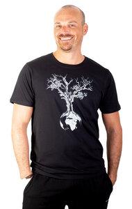 """Shirt aus Biobaumwolle Fairwear für Herren """"Weltenbaum"""" in Washed Green/Black/White - Life-Tree"""