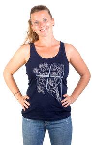 Fairwear Organic Tanktop Women Cream Grey/Navy Blue LaVista - Life-Tree