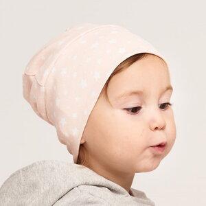 """Gefütterte Baby-Haube aus Bio-Baumwolle """"Starry Sky Peach Blush"""" Rosa - Cheeky Apple"""