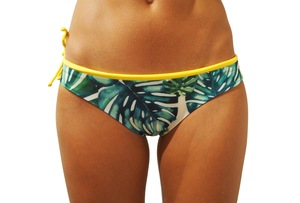 Reversible Surf Bikini Leilani Bottom - Yellow/GreenLeaves - Demalou