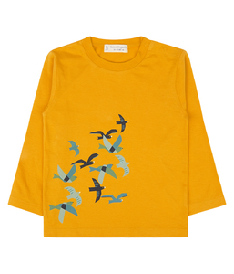Kinder Shirt gelb Vögel Biologisch - sense-organics