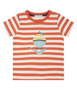 Kinder T-Shirt Orange Gestreift Ballon Biologisch - sense-organics