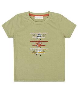 Kinder T-Shirt Oliv Applikation Biologisch - sense-organics