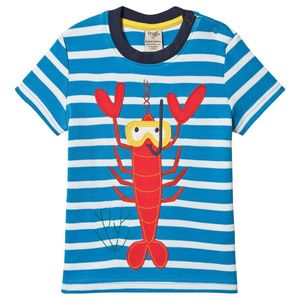 Frugi T-Shirt lobster blue stripe Applikation - Frugi