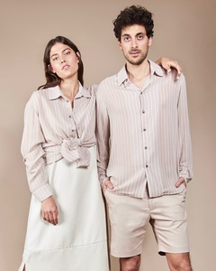 Unisex-Hemd KEN in sand gestreift - JAN N JUNE