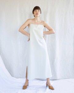 Slip Dress CAPRI midi eggshell - JAN N JUNE