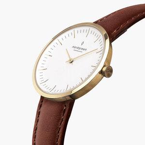 Armbanduhr Infinity Gold - Italienisches Lederarmband - Nordgreen Copenhagen