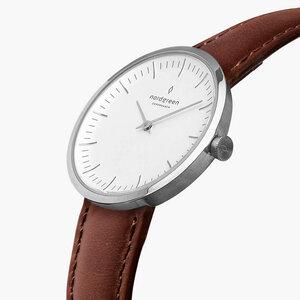 Armbanduhr Infinity Silber - Italienisches Lederarmband - Nordgreen Copenhagen
