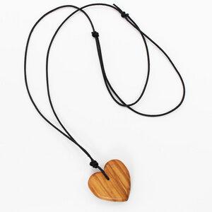 Halskette Herz | Holzkette mit Lederband - Mitienda Shop