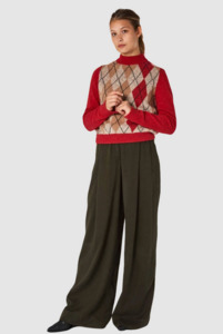 Pullover Rose - Argyle Red Beige  - Kings Of Indigo