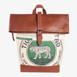Rucksack aus recyceltem Zementsack – Rolltop - Elephbo