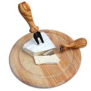 2er Set Käsebesteck plus Teller Ø 22 cm Olivenholz - Olivenholz erleben