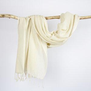 Baumwolltuch natur, Schal XL weiß, Meditationstuch, handgewebt - Sukham