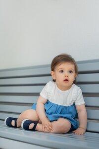 Bio Musselin Baumwolle Hemd Grace Blue Lagoon - Peter Jo Kids