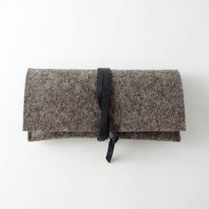 Brillenetui aus Filz braun mit Lederband    'auguste' - matilda k. manufaktur