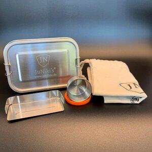 Set: JuNiki´s® eco line Edelstahl Lunchbox Brotdose + Trenner + Dipper - JN JuNiki's