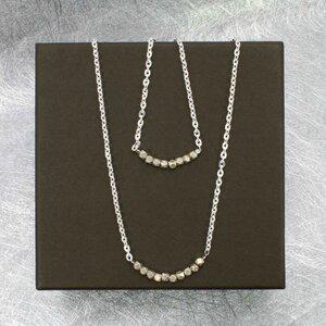 """Halskette """"Pur"""", Fair-Trade-Silberkette mit massiven Karen-Silberperlen - steinfarben"""