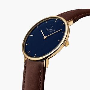 Armbanduhr Native Gold | Blaues Ziffernblatt - Lederarmband - Nordgreen Copenhagen
