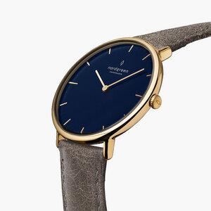 Armbanduhr Native Gold   Blaues Ziffernblatt - Lederarmband - Nordgreen Copenhagen