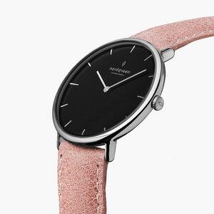 Armbanduhr Native Silber | Schwarzes Ziffernblatt - Lederarmband - Nordgreen Copenhagen
