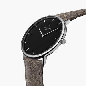 Armbanduhr Native Silber   Schwarzes Ziffernblatt - Lederarmband - Nordgreen Copenhagen