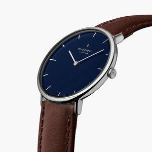 Armbanduhr Native Silber | Blaues Ziffernblatt - Lederarmband - Nordgreen Copenhagen