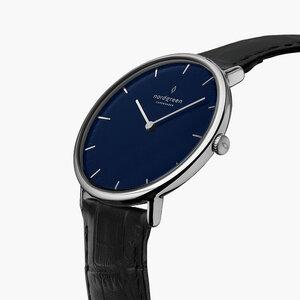 Armbanduhr Native Silber   Blaues Ziffernblatt - Lederarmband - Nordgreen Copenhagen