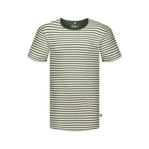 Striped T-Shirt Leinen Dunkelgrün - bleed