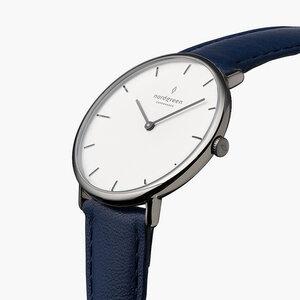Armbanduhr Native Anthrazit | Weißes Ziffernblatt - Veganes Leder - Nordgreen Copenhagen