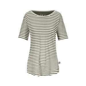 Striped T-Shirt Damen Leinen Dunkelgrün - bleed