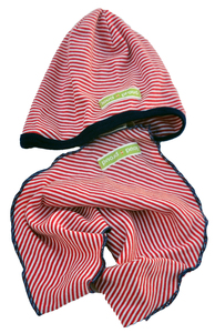Baby-Wendehose aus Biobaumwolle rotbeige Gr.50/56 plus Mütze u Dreieckstuch - loud + proud