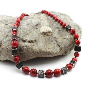 """Halskette """"Karo"""", rote Tagua, Picasso-Jaspis, Messing, Schließe Silber - steinfarben"""