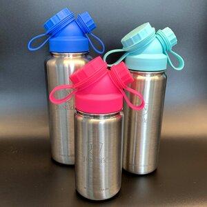 3er Set zum Vorteilspreis: JuNiki´s®  eco line isolierte Edelstahl Trinkflasche 3 Größen mit farbigen Deckeln Blau, Türkis, Pink - JN JuNiki's
